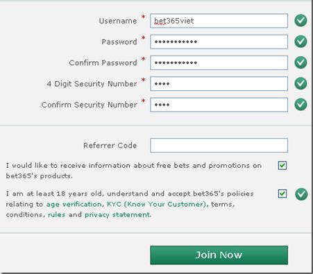 Hướng dẫn đăng ký thành công tài khoản Bet365
