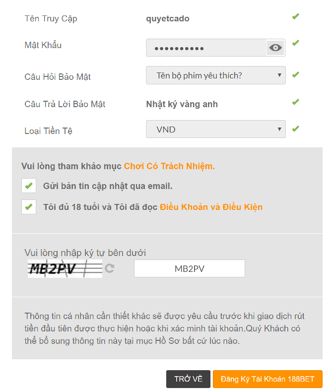 Điền mã xác nhận và đồng ý đăng ký tài khoản 188Bet