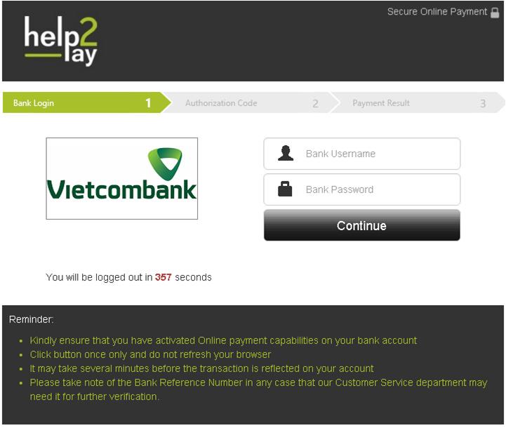 Đăng nhập thông tin Internet Banking