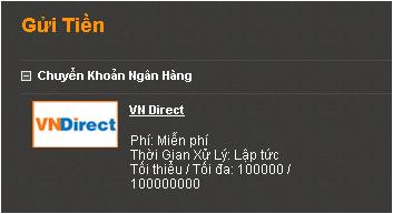 Chọn phương thức gửi VNDirect