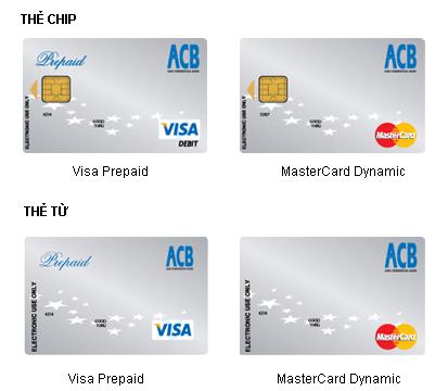 Một số loại thẻ ACB