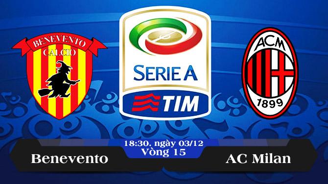 Soi kèo bóng đá Benevento vs AC Milan 18h30, ngày 03/12 Serie A