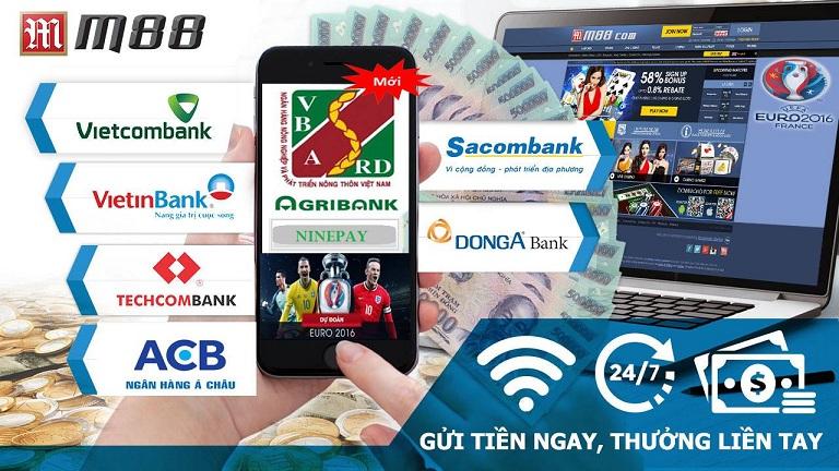 M88 hỗ trợ giao dịch với 7 ngân hàng Việt Nam