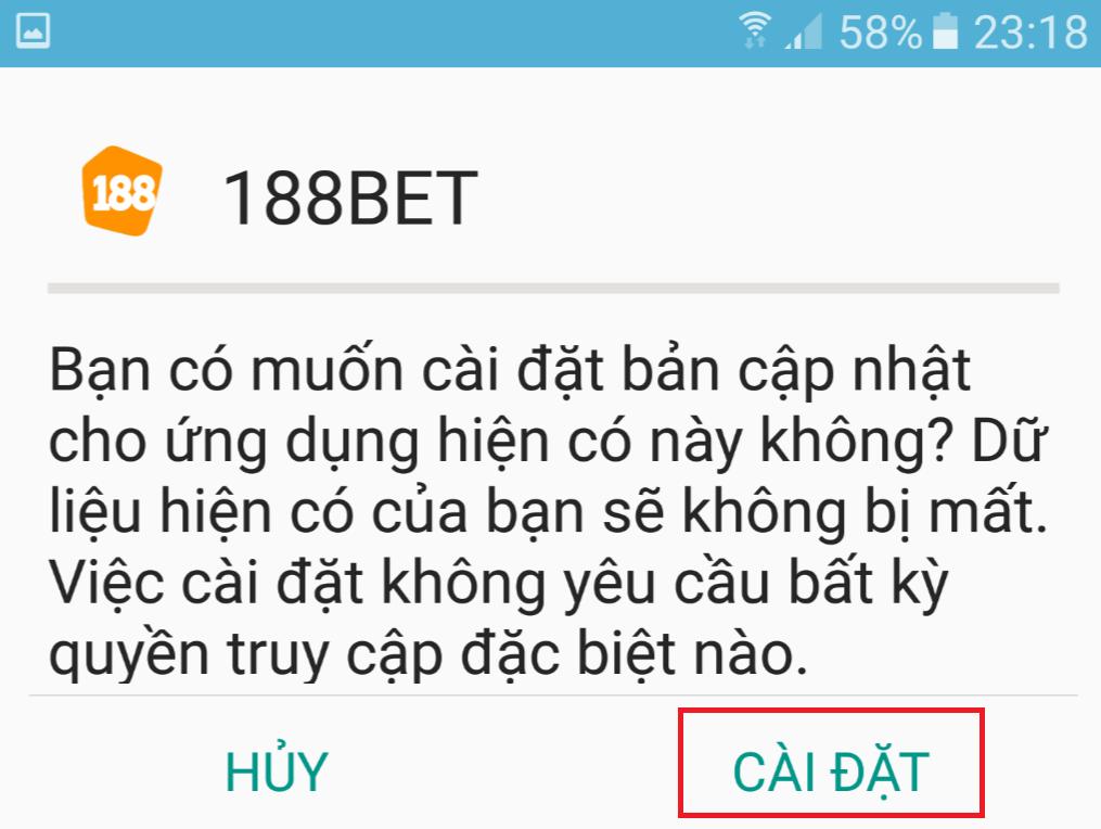 Cập nhật phiên bản mới nhất cho ứng dụng 188Bet apk