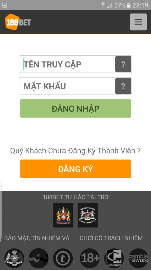 Giao diện đăng nhập ứng dụng 188Bet apk